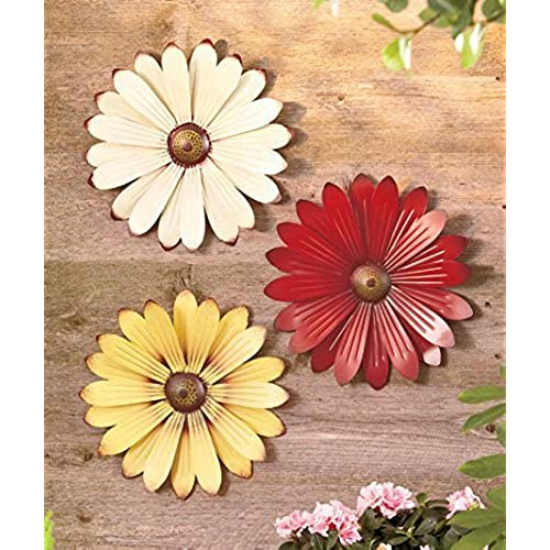 Beau Set Of 3 Metal Wall Flowers