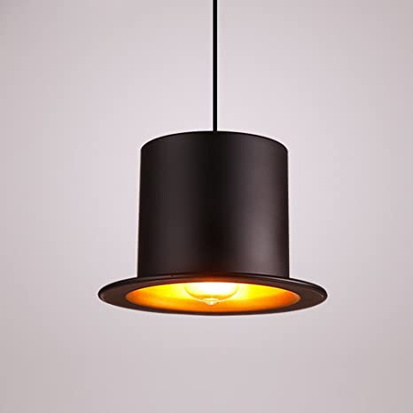 Creativo Lámpara colgante aluminio sombrero Cilindro Negro ...