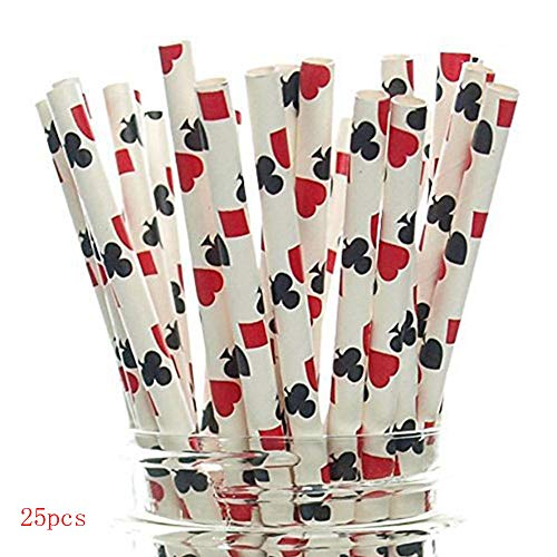 - Hot Sale!DEESEE(TM)25Pcs Degradable Kraft Paper Suction Tube Poker Pattern Straws For Party