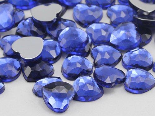 6mm Royal Blue JG33 Flat Back Heart Acrylic Jewels Pro Grade - 100 Pieces