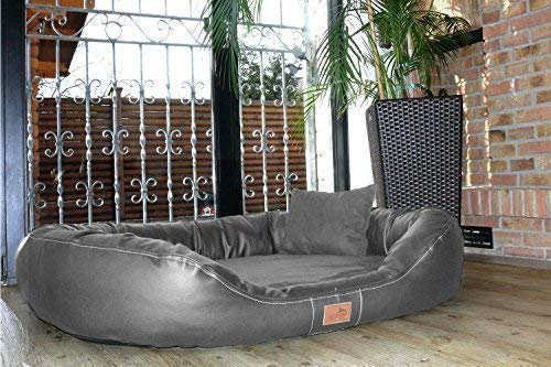Tierlando® Ultimate Lennart Orthopedic Dog Bed with Visco plus Mattress in Faux Leather and Velour  Soft Lounge  XXL 140 cm Graphite Grey