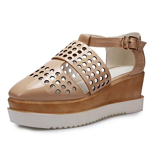 Beige PU Buckle Round Women's Heels WeenFashion Toe Closed Solid Sandals Kitten qOvwxn7E