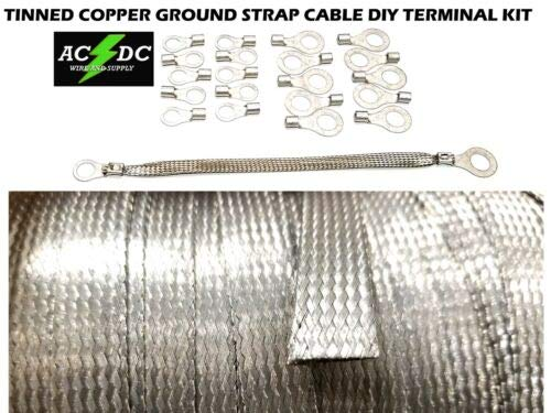JumpingLight 50 TINNED Copper Ground Strap Cable KIT + DIY Terminal Kit 3/8'', Flat Braid Wire Cables Electronic Stranded Wire Cable Electrics DIY