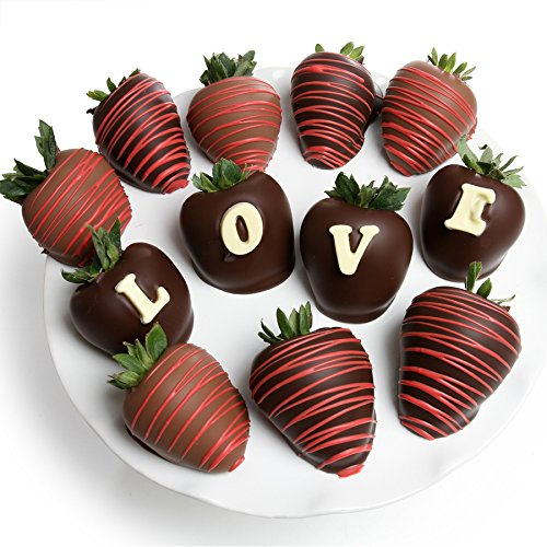 Belgian Chocolate Covered Strawberries | 12pc - LOVE Berry-Gram Gift Box by Chocolate Covered Company