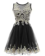 HEIMO Gold Lace Beaded Homecoming Dresses Short Sequined Appliques Cocktail Prom Gowns H130