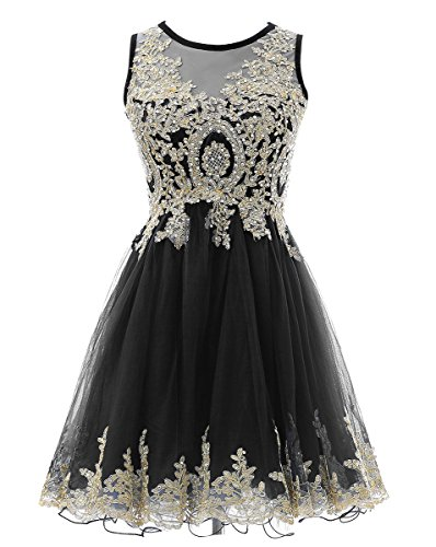 Beaded Cocktail Gown - HEIMO Gold Lace Beaded Homecoming Dresses Short Sequined Appliques Cocktail Prom Gowns H130 6 Black