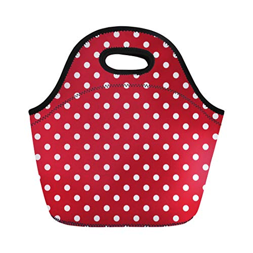Brown Tissue Dot Polka Box - Semtomn Lunch Tote Bag Yellow Poka Polka Dots White and Red Polkadot Black Reusable Neoprene Insulated Thermal Outdoor Picnic Lunchbox for Men Women