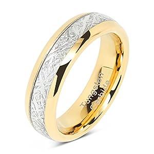 100S JEWELRY 6mm Men's & Women's Tungsten Carbide Ring Meteorite Inlay Wedding Band Size 4-13