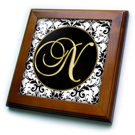 3dRose Fancy Monograms - Image of The Script Letter N in Black White and Gold - 8x8 Framed Tile (ft_256278_1) Hanging Framed Letter