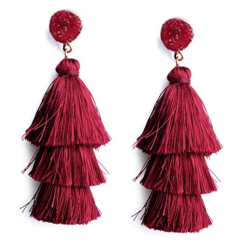 - Womens Burgundy Red Tassel Drop Earrings Wine Red Tiered Tassel Fringe Earring Statement Long Dangle Earrings with Druzy Studs
