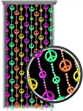 Beaded Curtains - Black Light Reactive Neon Peace Sign Door Beads #60929