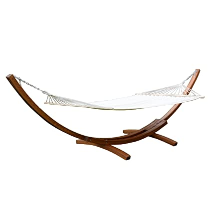 Giantex 161u0026quot; Wooden Curved Arc Hammock Stand W/Hammocksize Outdoor  Patio Garden Swing (