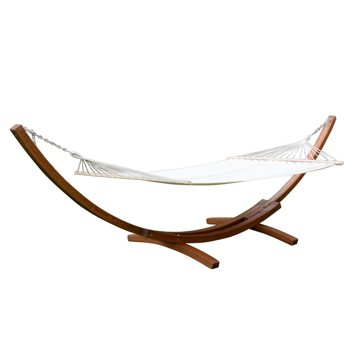Giantex 161'' Wooden Curved Arc Hammock Stand W/ Hammocksize Outdoor Patio Garden Swing (161.4''X47.2''X48.0'')