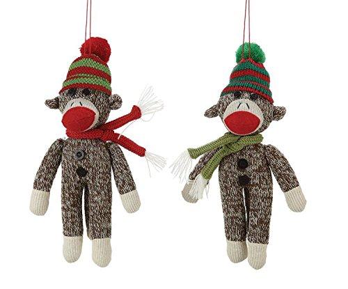 Fabric Sock Monkey Christmas Tree Ornament - 9