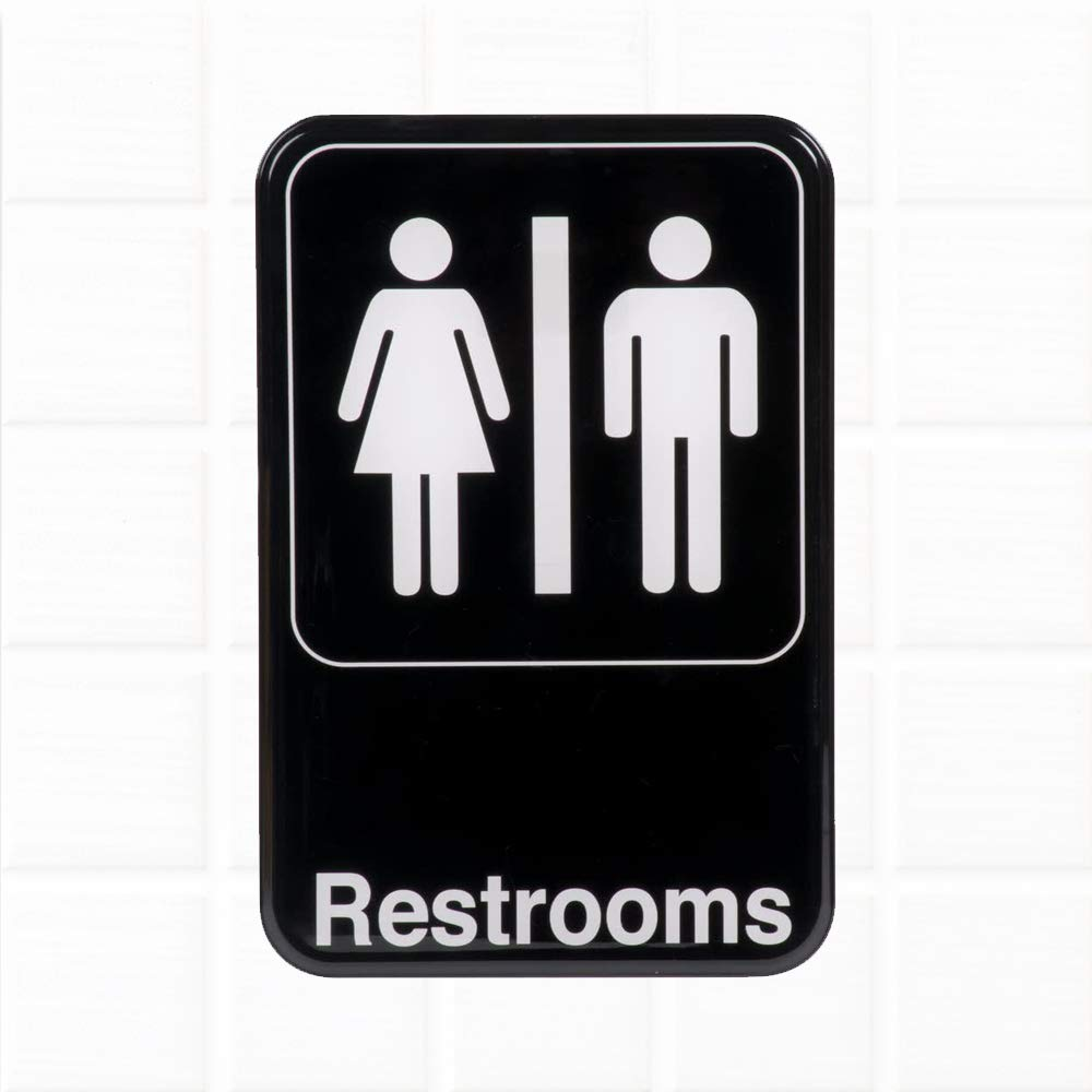 Amazon com restrooms sign black and white 9 x 6 inches restrooms sign for door wall unisex restroom signs bathrooms signs by tezzorio office