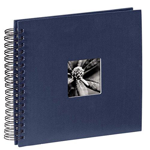 Hama Fotoalbum Fine Art, 50 schwarze Seiten (25 Blatt), Spiralalbum 28 x 24 cm, mit Ausschnitt für Bildeinschub, blau