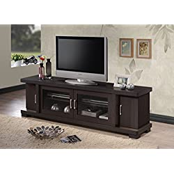 "Baxton Studio Wholesale Interiors Viveka Dark Brown Wood TV Cabinet with 2 Glass Doors and 2 Doors, 70"""