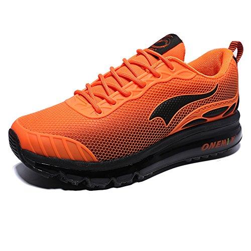 Light 4 Cushion Running Shoe (ONEMIX Men's Air Max Cushion Road Running Shoe (8 D(M) US, Black/Orange))