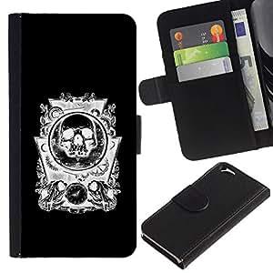 JackGot ( Cráneo negro abstracto blanco Engranajes ) Apple (4.7 inches!!!) iPhone 6 / 6S la tarjeta de Crédito Slots PU Funda de cuero Monedero caso cubierta de piel