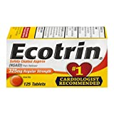 Ecotrin Regular Strength 325 Mg Aspirin for Arthritis, Safety Coated Aspirin-Pain Reliever, 125 Tablets, Packaging may vary