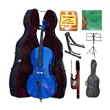 Merano 4/4 Full Size Blue Cello with Hard Case, Bag and Bow+2 Sets of String+Pitch Pipe+Cello Stand+Black Music Stand