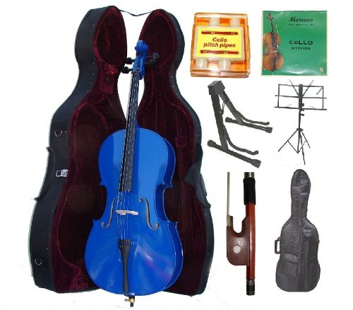 Merano 4/4 Full Size Blue Cello with Hard Case, Bag and Bow+2 Sets of String+Pitch Pipe+Cello Stand+Black Music Stand by Merano (Image #8)