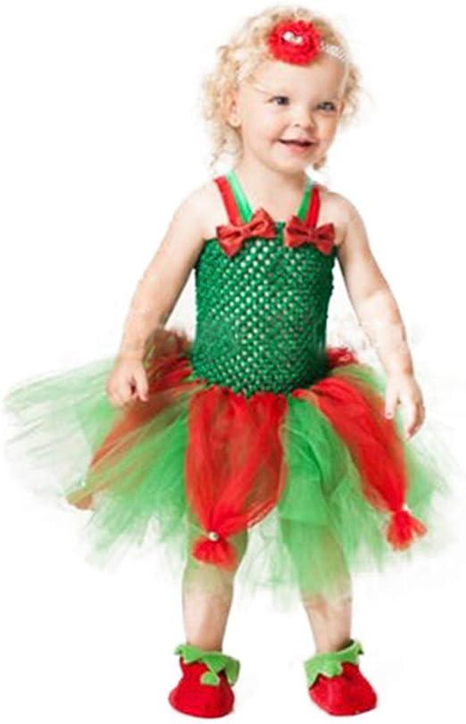 Vestido de tutú para bebé y niña, tutú de tul rojo y verde con ...