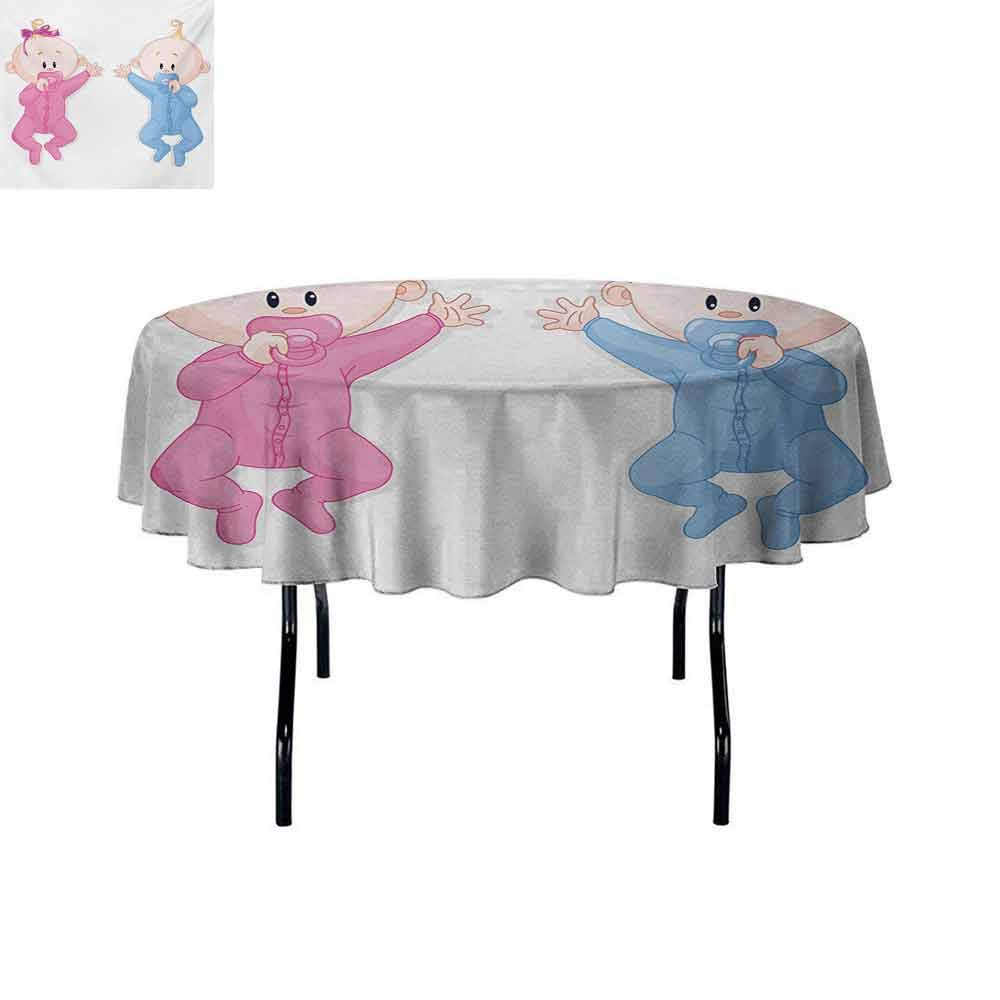 Gender Reveal Easy to Care for Leakproof and Durable Round tablecloths Babies Lie and Keep The Pacifiers Lovely Toddlers Sweet Childhood Outdoor Picnic D70 Inch Pink Blue and Peach by Curioly