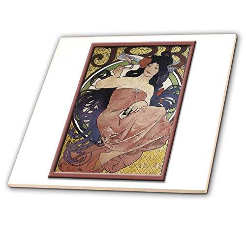 - 3dRose BLN Vintage Cigar and Cigarette Labels and Advertisments - Vintage job Cigarrette Paper Advertising Poster - 4 Inch Ceramic Tile (ct_127916_1)