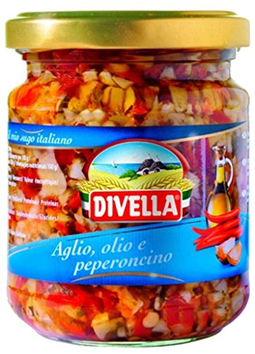 Divella Garlic and Oil With Peporoncino 6.7 Ounces ea. 2 Jars. Product of Italy.