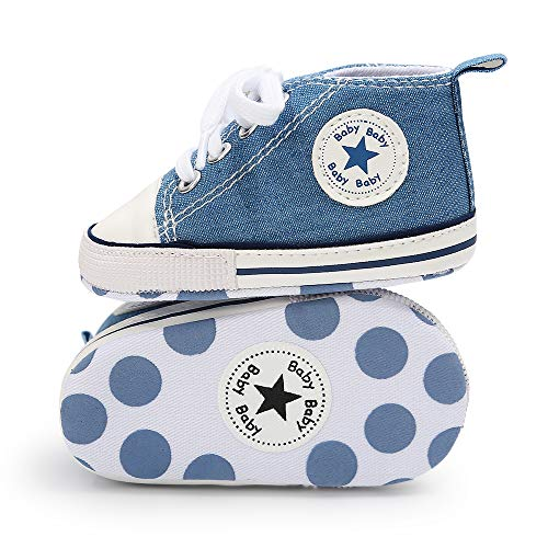 Tutoo Unisex Baby Boys Girls Star High Top Sneaker Soft Anti-Slip Sole Newborn Infant First Walkers Canvas Denim Shoes (3-6 Months M US Infant, A08-light Blue) (Shoes To Wear With Light Blue Jeans)