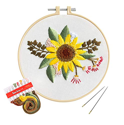 Unime Full Range of Embroidery Starter Kit with Pattern, Cross Stitch Kit Including Embroidery Cloth with Color Pattern, Embroidery Hoop, Color Threads, and Tools Kit(Sunflower,Bouquet)