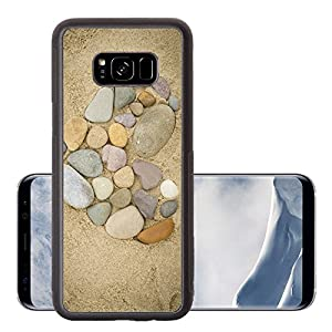 Luxlady Samsung Galaxy S8 Plus S8+ Aluminum Backplate Bumper Snap Case IMAGE ID: 23018219 Pebbles arranged in a heart shape on a sand beach