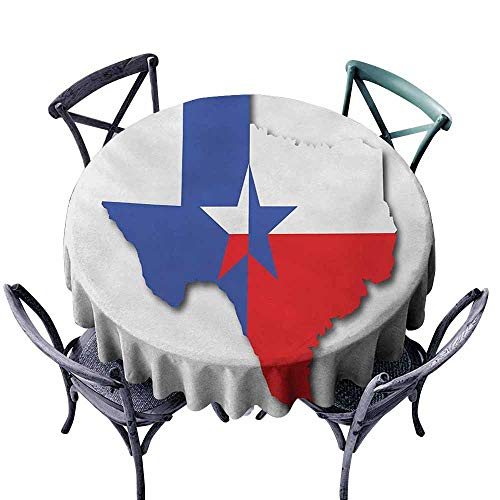 Round Tablecloth,Texas Star,Outline of The Texas Map American