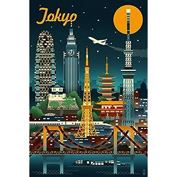 Tokyo, Japan - Retro Skyline (9x12 Art Print, Wall Decor Travel Poster)