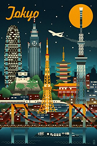 Vintage Signed Japan - Tokyo, Japan - Retro Skyline (12x18 Signed Print Master Art Print w/Certificate of Authenticity - Wall Decor Travel Poster)