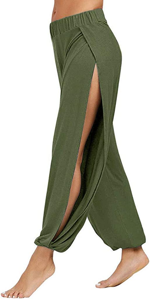 WUAI-Women Yoga Pant Harem Yoga Pants Side Slit Loose Sport Workout Sweatpants