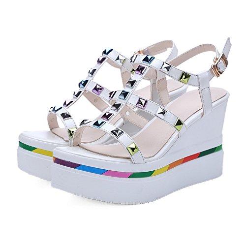 Toe AgooLar High Open Heels Sandalen Damen Weiß Farbe Schnalle EzOnOqx