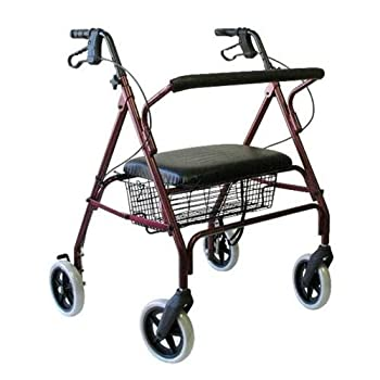 New Karman R-4700 ( R-4700W-BL ) Extra Wide Bariatric Rollator with Padded Flip-down Seat , Steel, 24 lbs.-Blue