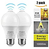 Smart Motion Sensor Light Bulbs, Built-in Motion Detector and Photocell Sensor, Automatic on/Off, Dusk to Dawn, A19/E26/120V/12W/1000lm for Porch Hallway Yard Stairs Garage (2Pack, 6000K Cool White)