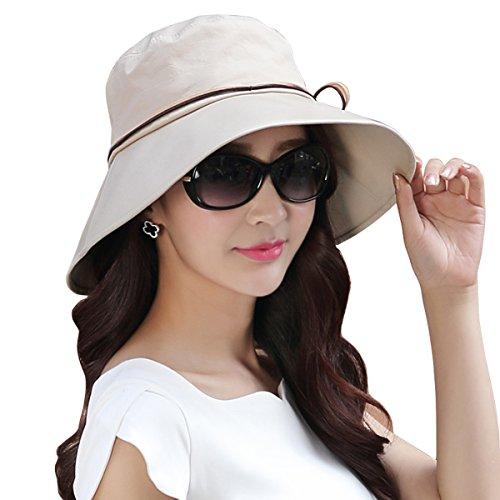 WITERY Women Ladies Summer Sun Hat Wide Brim Sun Hats Foldable Beach Hat Sun Visor Cloche UPF50+ Cap UV Protection for Women Girl Beige