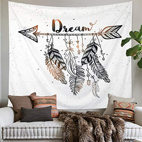 LOMOHOO Arrow Tapestry Vintage Feather Dream Tribal Aztec Style Boho Decor Art Bohemian Tapestry Wall Hanging Bedroom Dorm Living Room Blanket Decoration XL 175x230cm 69 x90.5