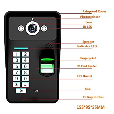 MOUNTAINONE HD 720P Wireless WIFI RFID Password Fingerprint Recognition Video Door Phone Doorbell Intercom System Night Vision + Electric Drop Bolt Lock+Waterproof Access Control System