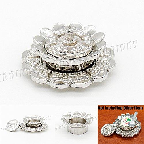 Odoria 1:12 Miniature Vintage Sliver Flower Shape Carved Soup Bowl and Plate Set Dollhouse Kitchen Accessories