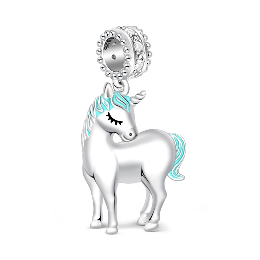 GNOCE 925 Sterling Silver Charms for Bracelets Women's Unicorn Charm Bracelets Fit Bracelets Gift for Her