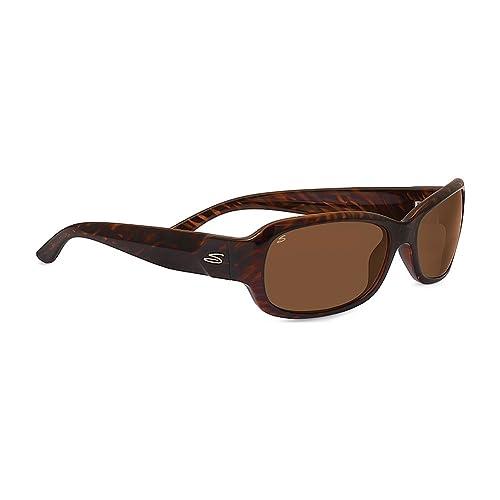 serengeti Chloe Shiny Dark Brown Stripe Occhiali da Sole, Colore Lente Polarized Drivers, Categoria Lente 3, Marrone