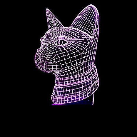 3D LED Illusions Luz Nocturna Nuevo animal cabeza de gato colorido interruptor de toque ligero moda