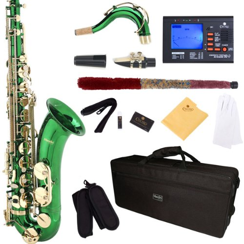 mendini-by-cecilio-mts-gl-92d-green-lacquer-b-flat-tenor-saxophone-with-tuner-case-mouthpiece-10-ree