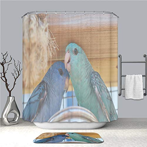 BEICICI Shower Curtain and Bath mat Rug Family Portrait of Blue and Turquoise Barred Parakeet Close up Custom Stylish,Waterproof,Bathroom Set