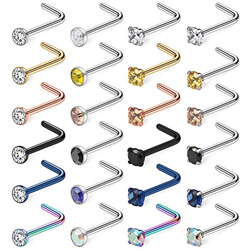 Piercing Ring (Ruifan 24PCS 20G Surgical Steel Mix Color Diamond CZ Nose Stud Rings L Shaped Piercing Jewelry 3mm)